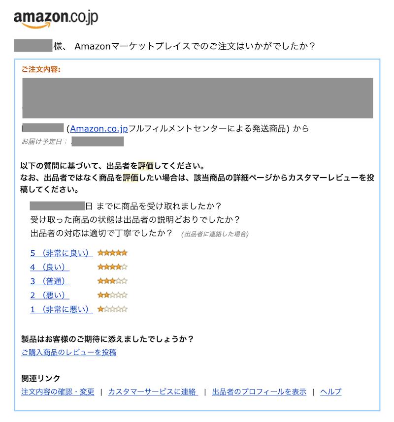 Amazon評価依頼メールの手順