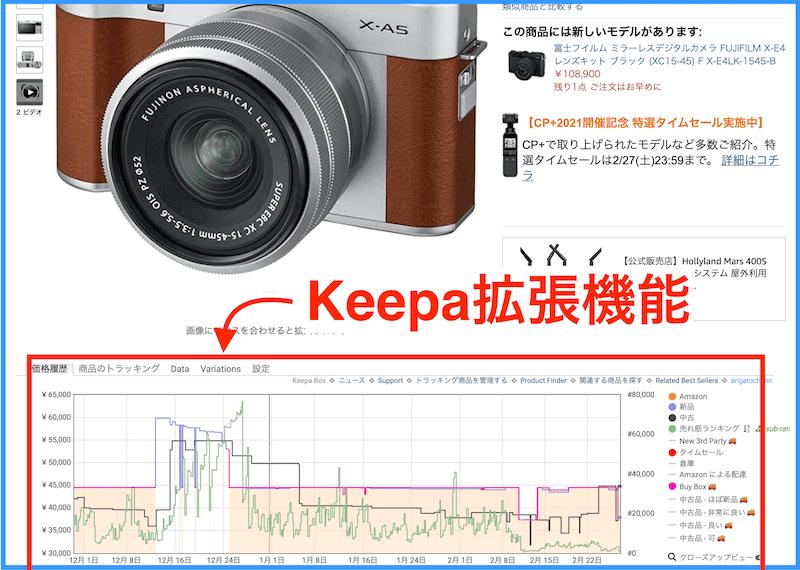 Keepaの拡張機能の様子